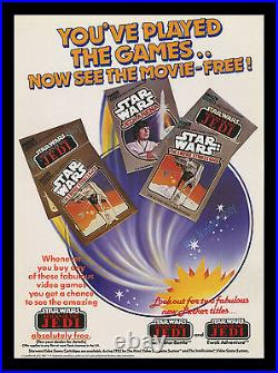 1983 ATARI Star Wars RETURN OF THE JEDI Store Display MOVIE POSTER EARLY GAMING