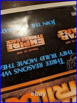 37 x 25.5 Carrie Fisher & Mark Hamill Signed Star Wars Poster Linen Backed