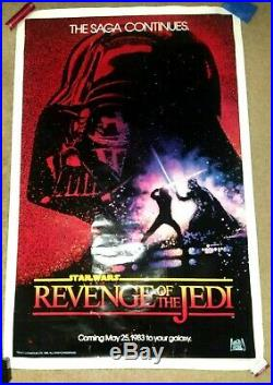 AUTHENTICStar WarsREVENGE OF THE JEDIMovie Poster One SheetROLLED1982