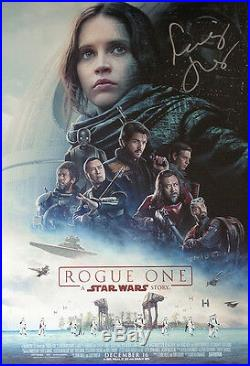 AUTOGRAPHED'Rogue One A Star Wars Story' (Felicity Jones) Movie Poster + COA