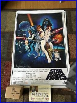 Autographed David Prowse Full Size Star Wars Poster Insc Darth Vader Certified