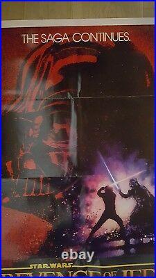 C9.5 MINT! ORIGINAL REVENGE OF THE JEDI Star Wars 1982 Lucas Movie Poster 27x41