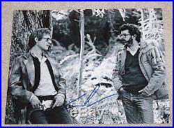 DIRECTOR GEORGE LUCAS SIGNED STAR WARS 11X14 PHOTO WithCOA HARRISON FORD ON SET