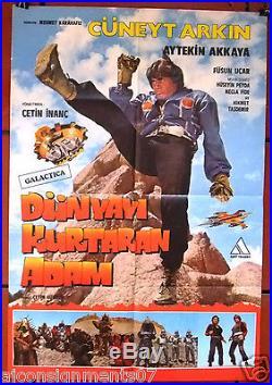 DUNYAYI KURTARAN ADAM TURKISH STAR WARS Cüneyt Arkn Original Movie Poster 80s