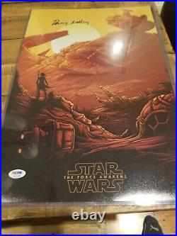 Daisy Ridley Signed 12x18 Star Wars The Force awakens Mini Movie poster PSA