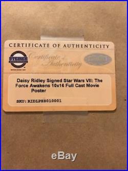 Daisy Ridley Signed Star Wars Poster Framed Force Awakens PSA Steiner COA Ray