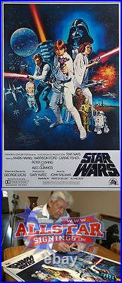 Dave Prowse Darth Vader Signed Star Wars New Hope Film Movie Poster Coa & Proof