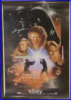 Ewan McGregor Hayden Christensen Signed Star Wars Sith Movie Poster Beckett BAS