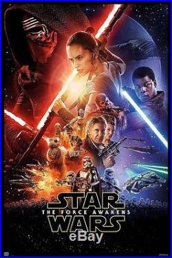 Framed Star Wars Episode VII The Force Awakens Movie in Matte Black Wood Frame