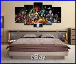 Framed Star Wars Movie Characters Poster Canvas Print Wall Art Decor 5 Piece