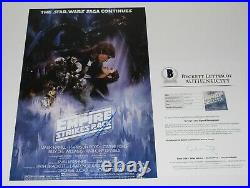 George Lucas Signed Star Wars The Empire Strikes Back Movie Poster Beckett Coa