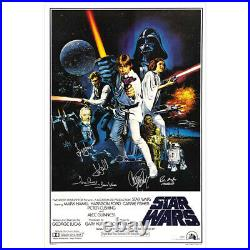 Harrison Ford, Carrie Fisher, Hamill Star Wars Cast New Hope 27x40 Retro Poster