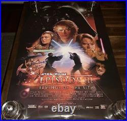 Kenny Baker & Ian McDiarmid Star Wars Return of the Jedi SIGNED Poster K9 COA
