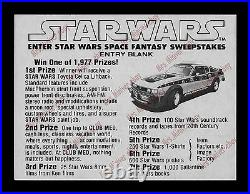 MOVIE THEATER Star Wars TOYOTA CELICA SWEEPSTAKES POSTER DISPLAY With ENTRY BLANKS
