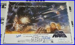 Mark Hamill Carrie Fisher Peter Mayhew +3 Signed Star Wars Movie Poster BAS COA