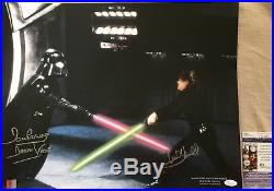 Mark Hamill & Dave Prowse signed auto Star Wars ROTJ 16x20 photo poster JSA COA