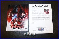 Mark Hamill Johnson Serkis Cast X5 Signed Star Wars Last Jedi 8x10 Photo PSA JSA