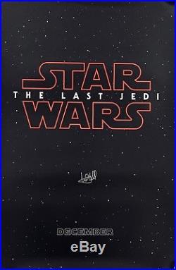 Mark Hamill signed the Last Jedi Star Wars poster new movie with Beckett Coa