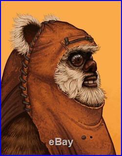 Mike Mitchell Wicket Ewok Star Wars Force Awakens Art Print Movie Poster Rogue 1
