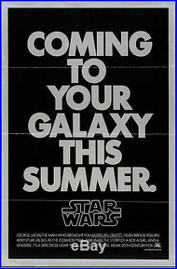 Movie Poster Star Wars Rare Non-Mylar Style 1977 27x41 VF 7.5 George Lucas