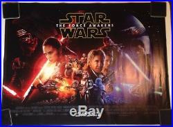 Official Star Wars The Force Awakens Episode VII UK Cinema Quad Cast Poster
