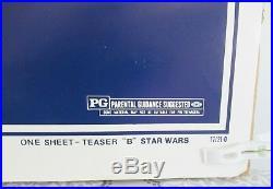 Original Rare Star Wars 1977 Full Sheet Teaser Movie Poster 27x41