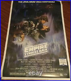 PETER MAYHEW SIGNED STAR WARS EMPIRE STRIKES BACK POSTER 24x36 BECKETT BAS