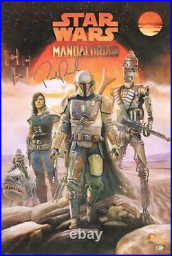 Pedro Pascal Star Wars The Mandalorian Signed 22 x 34 The Crew Movie Poster