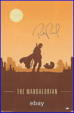 Pedro Pascal The Mandalorian Signed 22 x 34 Mando and the Child Movie Poster