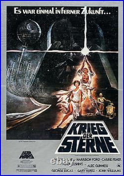 Poster Star Wars A New Hope 1977 German A1 23.5x33 VF 7.0 Krieg Der Sterne