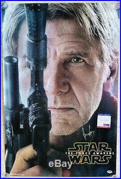 RARE Star Wars The Force Awakens HARRISON FORD Signed AUTOGRAPH Movie Poster PSA