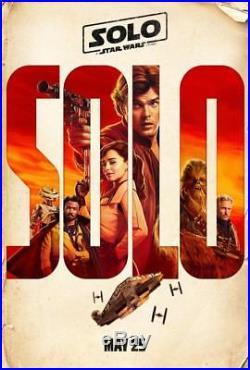 SOLO A STAR WARS STORY Original DS 27x40 Movie Poster FULL CAST CHEWIE LANDO QRA