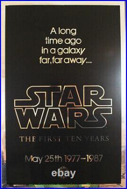 STAR WARS 10TH ANN. MOVIE POSTER Fine Condition Re-release 1987 MYLAR 27x41 Inch