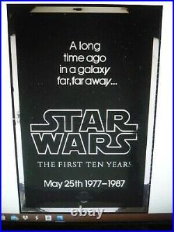 STAR WARS 10th anniv, rolled silver mylar 1-sht / movie poster (Kilian Prod)