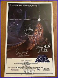 STAR WARS 11x17 Poster CAST Signed x3. Dave Prowse, Peter Mayhew & Kenny Baker