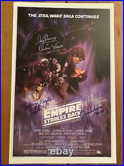 STAR WARS 11x17 Poster Empire Strikes Back CAST Signed x4. Prowse Mayhew & Baker