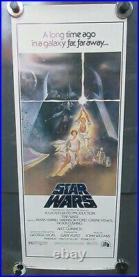 STAR WARS(1977) Original Insert Poster 14x36 Mint Example No Tears Pinholes Tape
