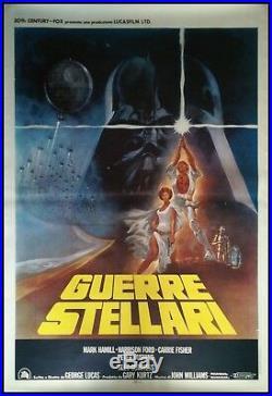 STAR WARS 1977 Original Movie Poster 55x78 4Sh Italian LINEN BACKED 1st RELEASE