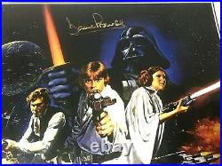 STAR WARS 3 CAST SIGNED FISHER, BULLOCH, PROWSE MOVIE POSTER 11x17 WITH COA
