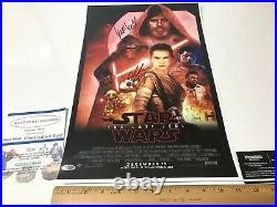 STAR WARS 3 CAST SIGNED MOVIE POSTER LAST JEDI 11x17 WITH COA
