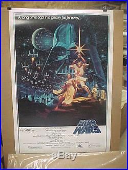 STAR WARS A NEW HOPE, orig rolled 1992 1-Sh B/ autographed movie poster