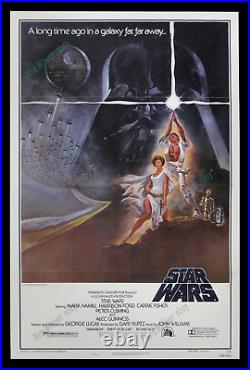 STAR WARS ACTUAL1977 PRINTED Style A 27x41 TRI-FOLDED MINT/NM MOVIE POSTER