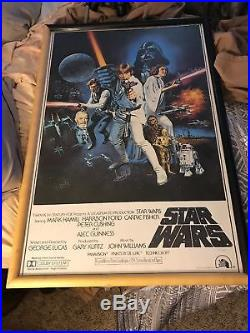 STAR WARS Cast SIGNED Autograph Poster Mark Hamill Carrie Fisher ANH Vintage
