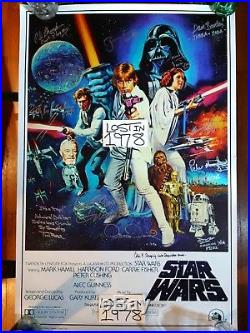 STAR WARS Cast Signed Autograph ANH Poster Carrie Fisher Empire Jedi ROTJ Last
