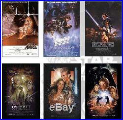 STAR WARS Deluxe Poster Set ALL 6 MOVIE POSTERS