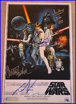 STAR WARS EPISODE IV A NEW HOPE CAST SIGNED 12x18 MOVIE POSTER withCOA X4 PROOF