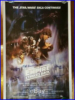 STAR WARS Empire Stikes Back Cast SIGNED Autograph Poster ALL 5 BOUNTY HUNTERS