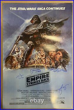 STAR WARS Empire Strikes Back movie poster signed by 7. Mark Hamill, Mayhew