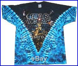 STAR WARS HILDEBRANDT MOVIE POSTER-Liquid Blue Tie dyed 2 sided T shirt NEW L-XL