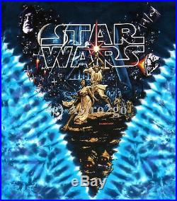STAR WARS HILDEBRANDT MOVIE POSTER-Liquid Blue Tie dyed 2 sided T shirt NEW XL